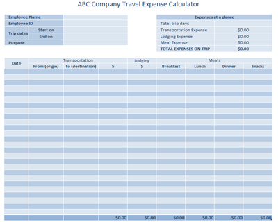 Useful MS Excel and Word Templates for Business Owners – Travel Expense Calculator Template