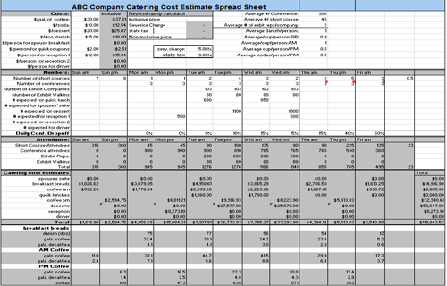 Catering Estimate Spreadsheet Png
