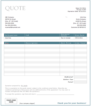 Useful ms excel and word templates for business owners for Painting quotes templates