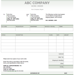 Company Work Order Template | World