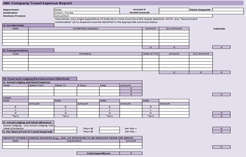 Useful MS Excel and Word Templates for Business Owners – Expense Templates
