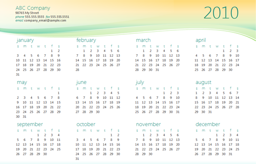 Corporate Calendar Template : Small business calendar template
