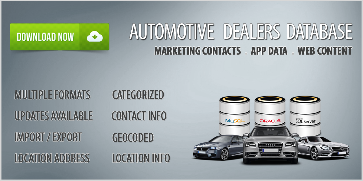 Auto Dealers (National) Database Download