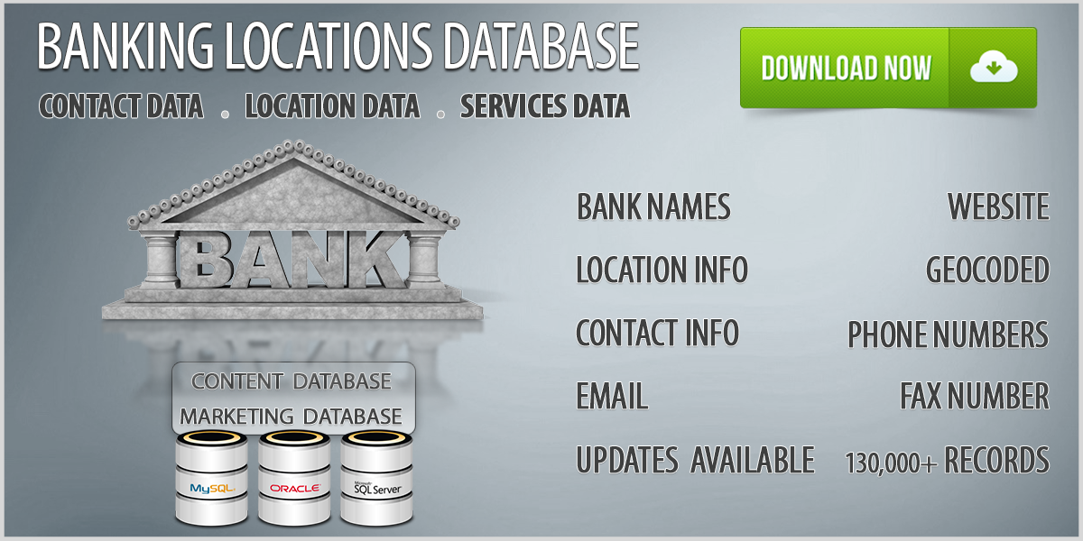 U S  Banks Database - Download Banks and Banking Locations List