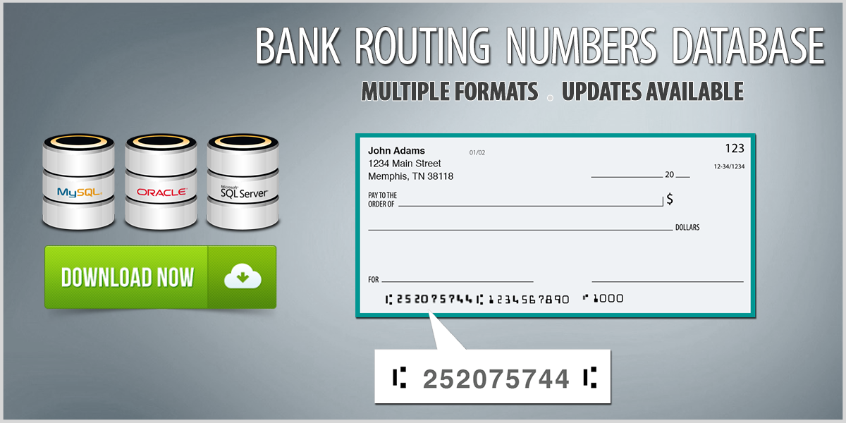 Bank Routing Numbers Database Download