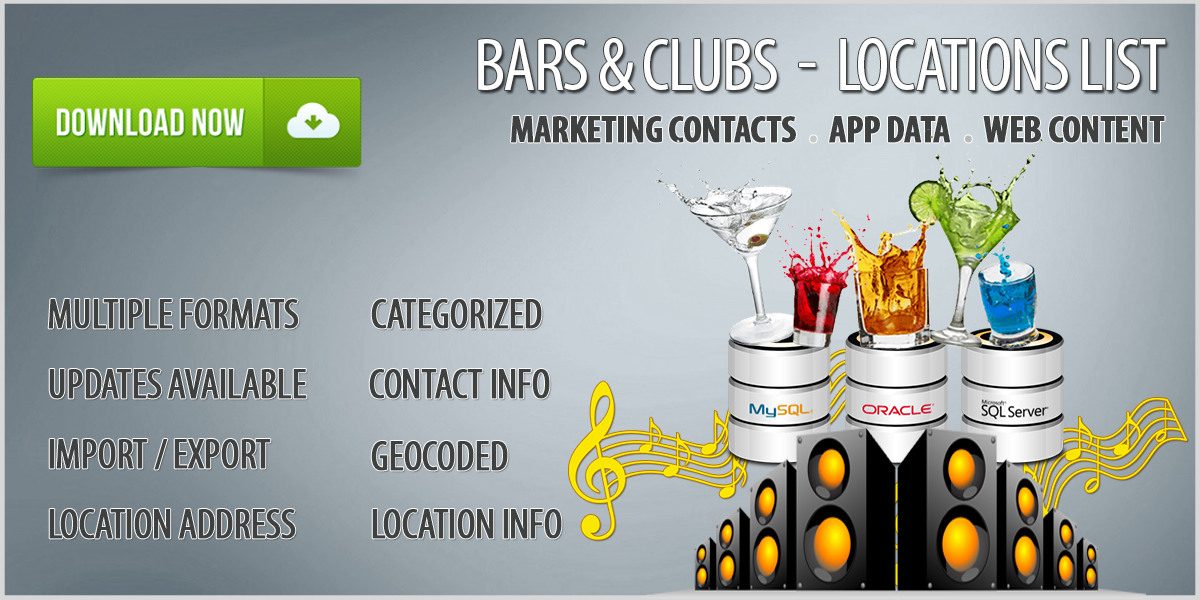 Bars and Clubs Details Database Download